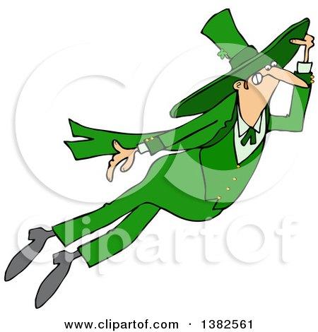 Clipart of a St Patricks Day Leprechaun Flying - Royalty Free Vector Illustration by djart