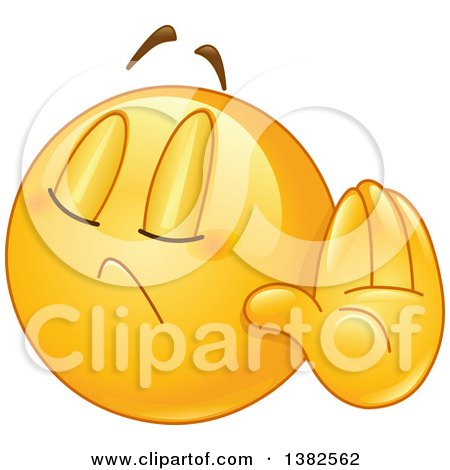Clipart of a Cartoon Yellow Emoji Smiley Face Emoticon Denying Something or Gesturing Talk to the Hand - Royalty Free Vector Illustration by yayayoyo