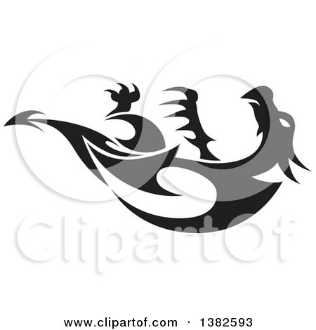 Clipart of a Black and White Dragon Tattoo Design - Royalty Free Vector Illustration by dero
