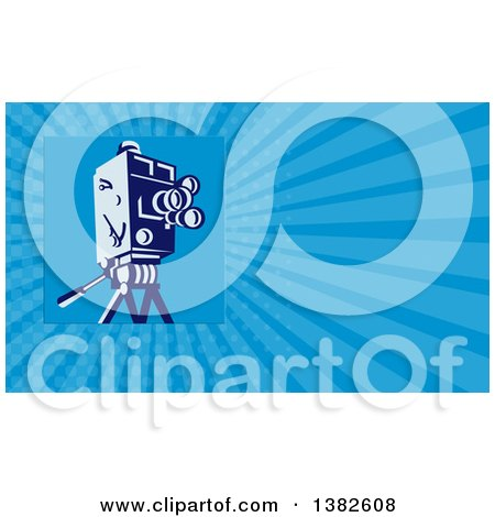 Clipart of a Retro Movie Camera and Blue Rays Background or Business Card Design - Royalty Free Illustration by patrimonio