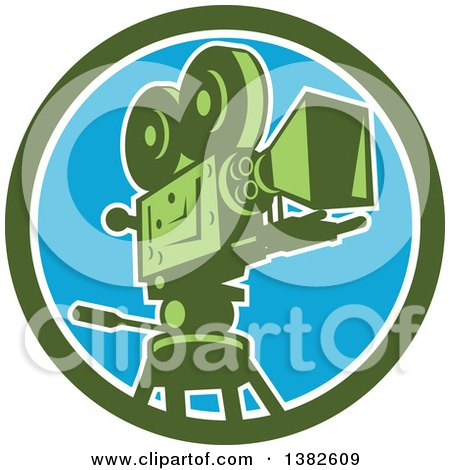 Clipart of a Retro Film Movie Camera in a Green White and Blue Circle - Royalty Free Vector Illustration by patrimonio