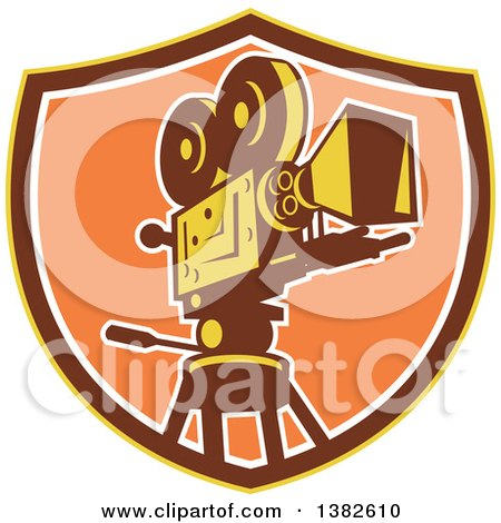 Clipart of a Retro Film Movie Camera in a Yellow Brown and Orange Shield - Royalty Free Vector Illustration by patrimonio