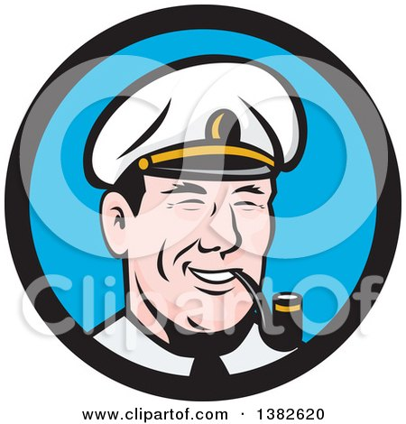 Clipart of a Retro Cartoon Sea Captain Smoking a Pipe in a Blue and Black Circle - Royalty Free Vector Illustration by patrimonio