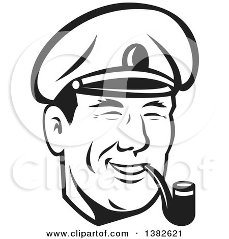 Clipart of a Retro Black and White Sea Captain Smoking a Pipe - Royalty Free Vector Illustration by patrimonio