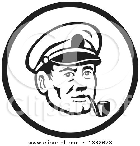 Clipart of a Retro Black and White Sea Captain Smoking a Pipe in a Circle - Royalty Free Vector Illustration by patrimonio