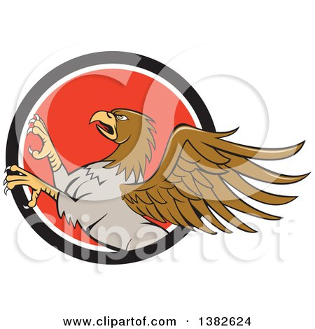 Clipart of a Cartoon Rampant Hippogriff Mythical Creature in a Black White and Red Circle - Royalty Free Vector Illustration by patrimonio