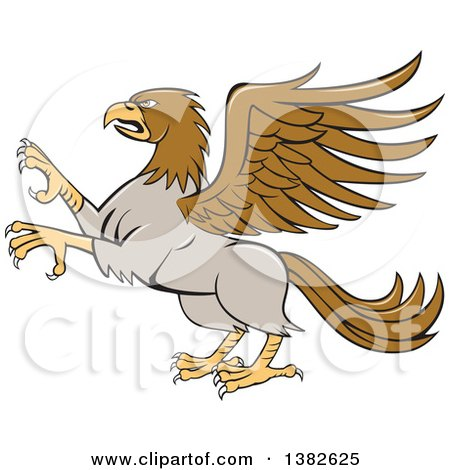 Clipart of a Cartoon Rampant Hippogriff Mythical Creature - Royalty Free Vector Illustration by patrimonio