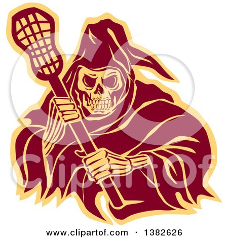 Clipart of a Retro Grim Reaper Holding a Lacrosse Stick, in Brown and Yellow - Royalty Free Vector Illustration by patrimonio