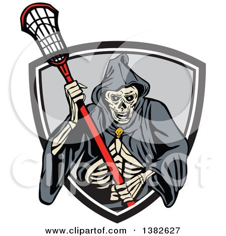 Clipart of a Retro Grim Reaper Holding a Lacrosse Stick and Emerging from a Shield - Royalty Free Vector Illustration by patrimonio