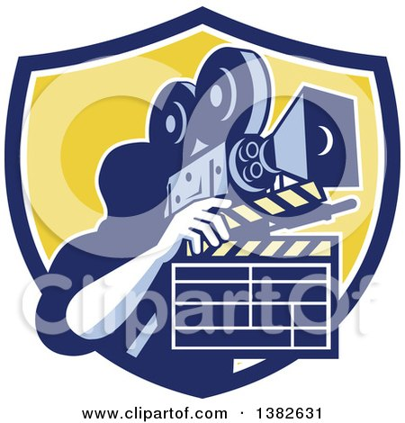 Clipart of a Retro Male Cameraman Filming and Holding a Clapper in a Blue White and Yellow Shield - Royalty Free Vector Illustration by patrimonio