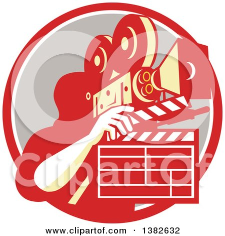 Clipart of a Retro Male Cameraman Filming and Holding a Clapper in a Red White and Taupe Circle - Royalty Free Vector Illustration by patrimonio