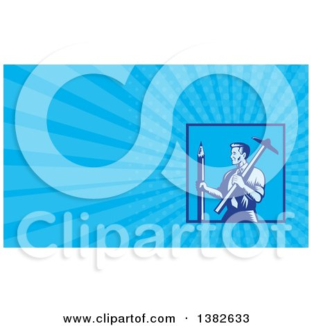 Clipart of a Retro Woodcut Draftsman Architect Holding a Large Pencil and T-Square and Blue Rays Background or Business Card Design - Royalty Free Illustration by patrimonio