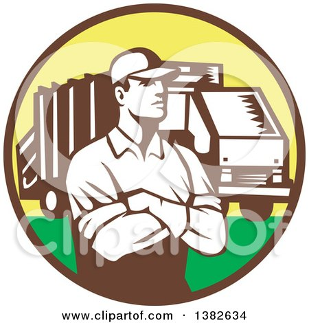 Clipart of a Retro Garbage Man and Truck in a Brown Yellow and Green Circle - Royalty Free Vector Illustration by patrimonio