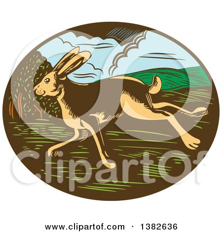 Clipart of a Retro Woodcut Jackrabbit Running in an Oval - Royalty Free Vector Illustration by patrimonio