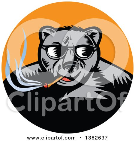 Clipart of a Retro Woodcut Black Bear Wearing Shades and Smoking a Cigar in an Orange Circle - Royalty Free Vector Illustration by patrimonio