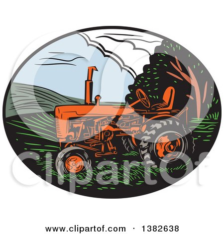 Clipart of a Retro Woodcut Tractor in an Oval of Farm Land - Royalty Free Vector Illustration by patrimonio