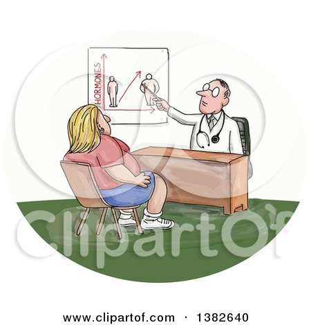 Clipart of a Sketched Caucasian Male Doctor Discussing Weight with an Obese Woman - Royalty Free Vector Illustration by patrimonio