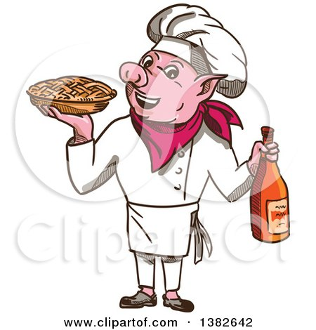 Clipart of a Sketched Pig Chef Holding a Pie and Bottle of Wine - Royalty Free Vector Illustration by patrimonio