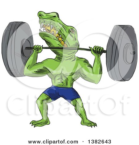 Clipart of a Cartoon Sobek Egyptian Diety Crocodile Man Lifting a Barbell - Royalty Free Vector Illustration by patrimonio
