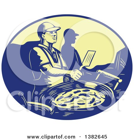 Clipart of a Retro Chef Making Mexican Food in a Blue and Yellow Oval - Royalty Free Vector Illustration by patrimonio