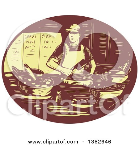 Clipart of a Retro Chef Making Tacos in a Brown and Yellow Oval - Royalty Free Vector Illustration by patrimonio