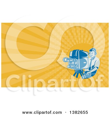 Clipart of a Retro Blue Camera Man Filming and Orange Rays Background or Business Card Design - Royalty Free Illustration by patrimonio