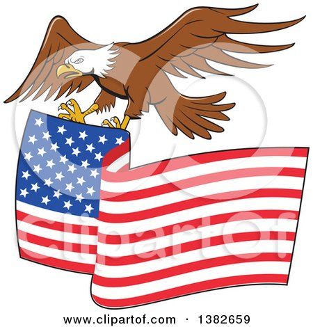 Clipart of a Cartoon Flying Bald Eagle Ready to Grasp an American Flag - Royalty Free Vector Illustration by patrimonio