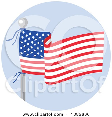 Clipart of a Flag Pole with a Waving American Banner over Blue - Royalty Free Vector Illustration by patrimonio