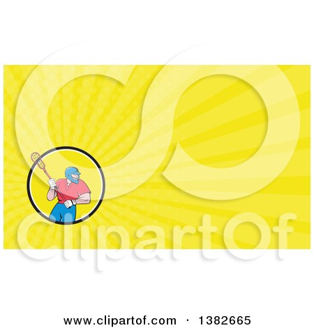 Clipart of a Cartoon White Male Lacrosse Player with a Stick and Yellow Rays Background or Business Card Design - Royalty Free Illustration by patrimonio