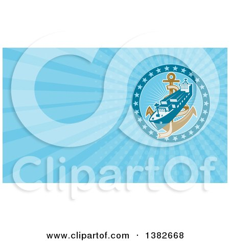 Clipart of a Retro Cargo Ship and Anchor and Blue Rays Background or Business Card Design - Royalty Free Illustration by patrimonio