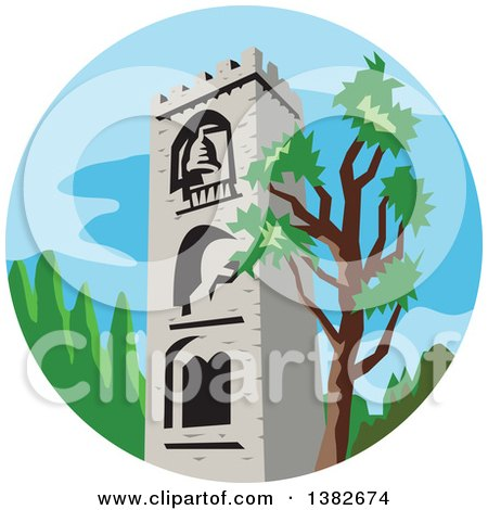 Clipart of a Retro Styled Medieval Bell Tower and Tree in a Circle - Royalty Free Vector Illustration by patrimonio
