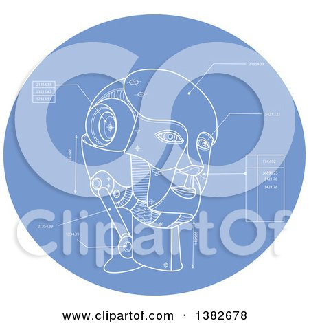 Clipart of a Technical Drawing Blue Print of an Android Head in a Blue Oval - Royalty Free Vector Illustration by patrimonio