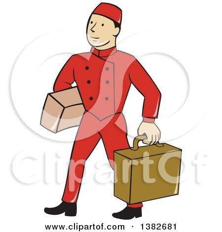 Clipart of a Cartoon Male Bellhop Porter in a Red Uniform, Carrying Luggage - Royalty Free Vector Illustration by patrimonio
