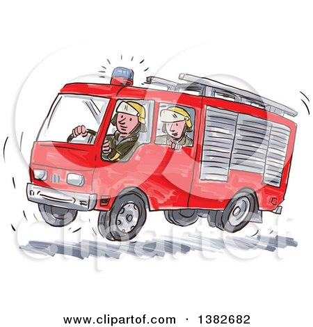 Clipart of Watercolor Men in a Fast Fire Truck - Royalty Free Vector Illustration by patrimonio