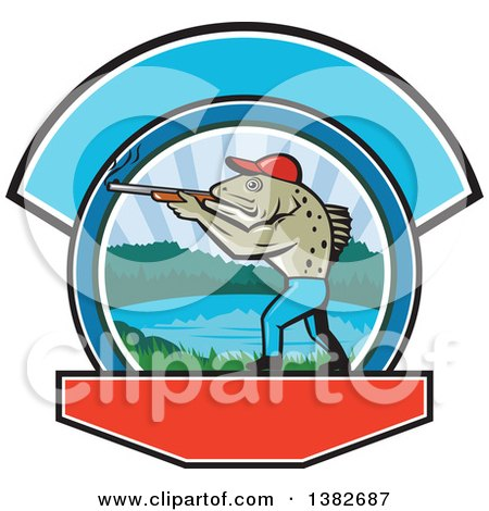 Clipart of a Retro Sea Trout Fish Man Hunter Holding a Shotgun over a Lake Scene - Royalty Free Vector Illustration by patrimonio