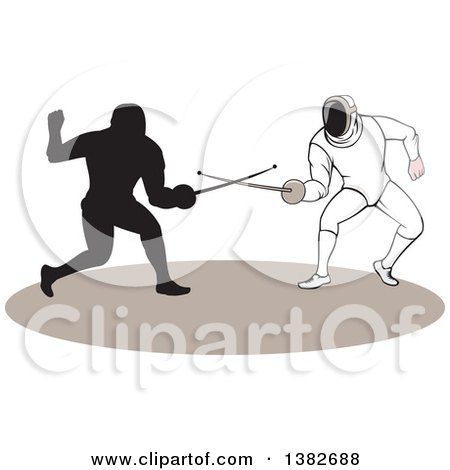 Clipart of Swordsmen Fencers in Action - Royalty Free Vector Illustration by patrimonio