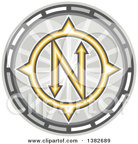 Clipart of a True North Compass - Royalty Free Vector Illustration by patrimonio