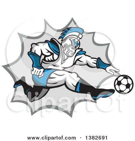 Clipart of a Retro Centurion Roman Soldier Soccer Player Kicking over a Gray Burst - Royalty Free Vector Illustration by patrimonio