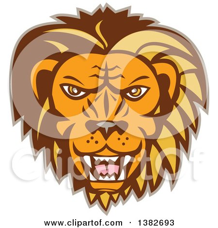 Clipart of a Retro Angry Roaring Male Lion Face - Royalty Free Vector Illustration by patrimonio