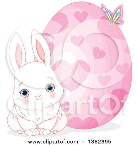 Clipart of a Cute White Easter Bunny Rabbit Sitting by a Giant Easter Egg with Hearts - Royalty Free Vector Illustration by Pushkin