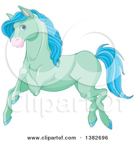 Clipart of a Cute Green and Blue Horse Running - Royalty Free Vector Illustration by Pushkin