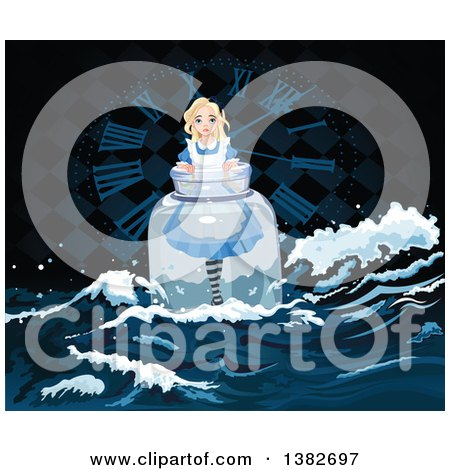 Clipart of Alice in Wonderland Floating in a Bottle Against a Clock - Royalty Free Vector Illustration by Pushkin