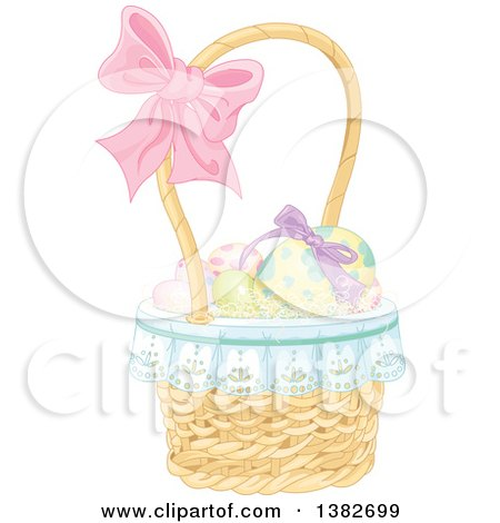 Clipart of a Basket of Easter Eggs with a Bow on the Handle - Royalty Free Vector Illustration by Pushkin