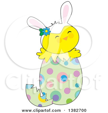 Clipart of a Cute Chick Wearing Bunny Ears and Popping out of an Easter Egg - Royalty Free Vector Illustration by Maria Bell