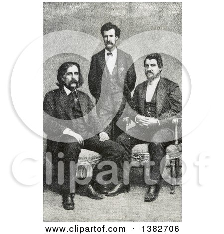 Royalty Free Historical Photomechanical Print of Josh Billings, Mark Twain Samuel Langhorne Clemens, Petroleum V. Nasby, C 1868 by JVPD