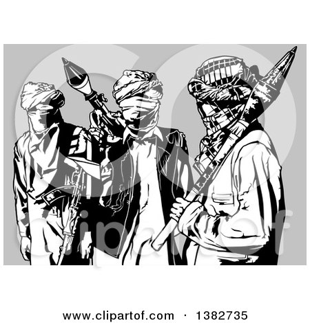 Clipart of a Black and White Terrorist Group, over Gray - Royalty Free Vector Illustration by dero
