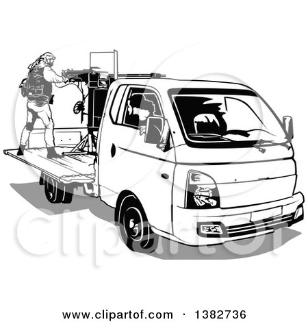 Clipart of Black and White Terrorists Operating an Armed Vehicle - Royalty Free Vector Illustration by dero