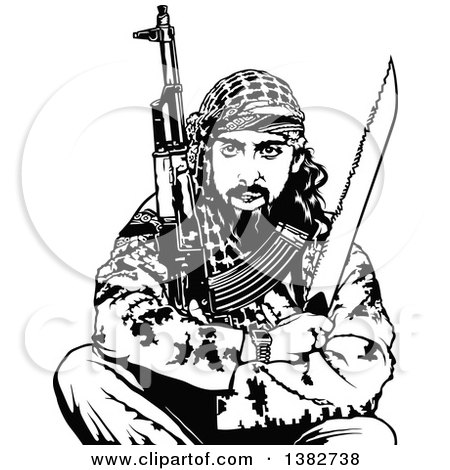 Clipart of a Black and White Terrorist Sitting with Weapons - Royalty Free Vector Illustration by dero