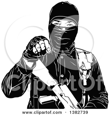 Clipart of a Black and White Terrorist Gesturing with His Hand - Royalty Free Vector Illustration by dero