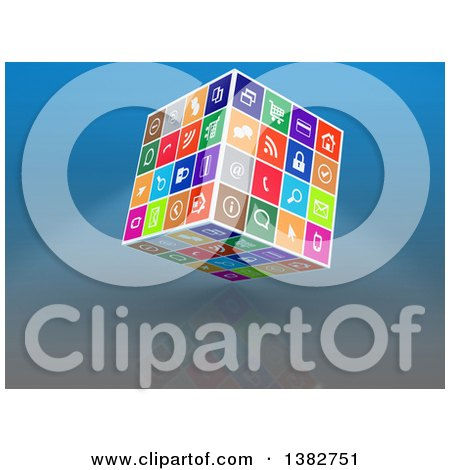 Clipart of a 3d Cube of Colorful Web Icons, on Reflective Blue - Royalty Free Illustration by MacX